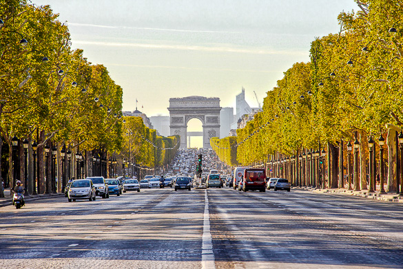 PARIS, FRANCE - SEPTEMBER 9: The Champs-Elysees and the Arc de T